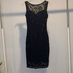 Black Sequence Lace Bodycon Dress